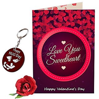 Sky Trends Valentine Combo Gift For Friend Printed Keychain Greeting card Rose Best Gift For Kiss Day Propose day Promise Day Hug Day Rose Day Gifts