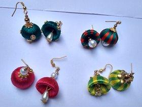 HandMade Silk thread jhumka 4 set