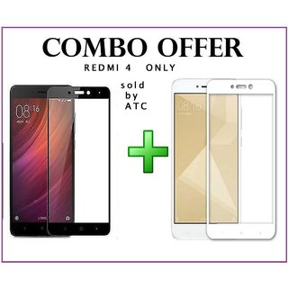 lot of 2 Redmi 4 Temper Glass black+white