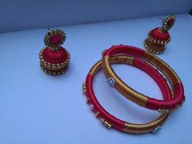 HandMade Silk thread bangles1 set, jhumka 1 set
