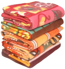 Set Of 5 Peponi Multicolor Nature and Floral Print Fleece & Polar Blankets