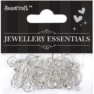 Jewellery Findings ear wire hooks & jump rings 8 mm - Silver