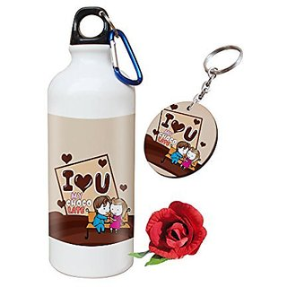Sky Trends Valentine Combo Gift For Husband Printed Sipper Bottle Keychain Artificial Rose Gift For Kiss Day Propose day Promise Day Hug Day Rose Day Gifts