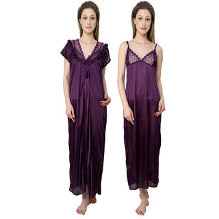 73ae63b6ab Buy Aileyis 2 Piece satin Nighty Online - Get 60% Off