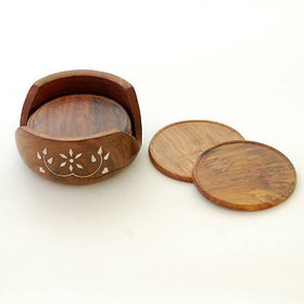 Brown Wooden Carved Tea Coaster Set of 6