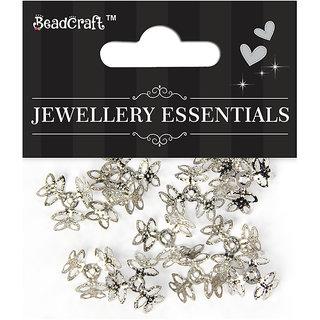 Jewellery Findings Bead Cap 3 Petal Flowers - Silver