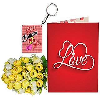 Sky Trends Best Wife Valentine Day Gifts Combo Greeting Card, Artificial Flowers Bunch and Keychain Girlfriend Fiance Birthday Anniversary Gifts Rose Day Gifts Promise Gifts 204