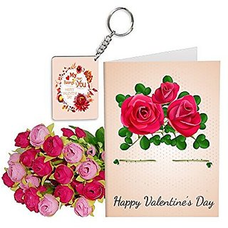 Sky Trends Best Wife Valentine Day Gifts Combo Greeting Card, Artificial Flowers Bunch and Keychain Girlfriend Fiance Birthday Anniversary Gifts Rose Day Gifts Promise Gifts 178