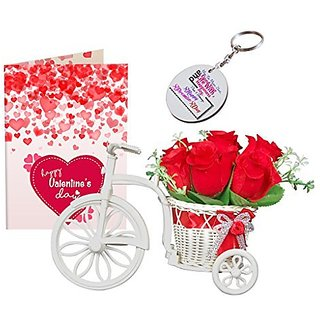 Sky Trends Valentine Combo Gift For Boyfriend Greeting Card Artificial Flower Bunch With Plastic Cycle amp Keychain Best Gift For Kiss Day Propose day Promise Day Hug Day Rose Day Gifts