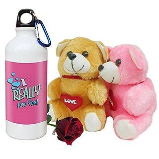 Sky Trends Valentine Combo Gift Set Printed Sipper Bottle Soft teddy Artificial Rose Best Gift For Girlfriend Wife Boyfriend Husband Friend STG-012
