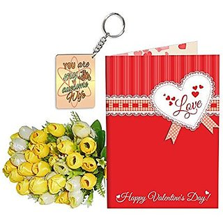 Sky Trends Best Wife Valentine Day Gifts Combo Greeting Card, Artificial Flowers Bunch and Keychain Girlfriend Fiance Birthday Anniversary Gifts Rose Day Gifts Promise Gifts 158
