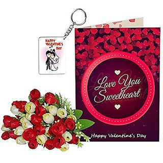 Sky Trends Best Wife Valentine Day Gifts Combo Greeting Card, Artificial Flowers Bunch and Keychain Girlfriend Fiance Birthday Anniversary Gifts Rose Day Gifts Promise Gifts 140