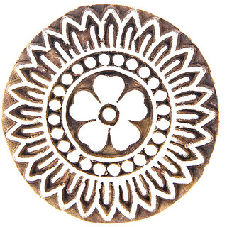 Hand Carved Wooden Printing Block - Round Flourishes