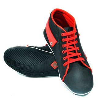 Bigwing Fashionable Black & Red Casual Shoes(MS-1002)