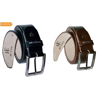 HyEnd Men's Black and Brown Pure Leather Formal Belt