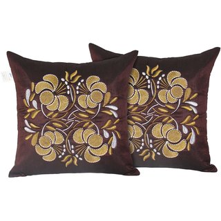 Zikrak Exim Set of 2 Poly Dupion Cushion Covers 40X40 cm (16X16)