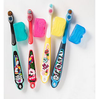 Jordan Step 6-9 years Toothbrush Soft Bristles Latest Design BPA Free Imported Brush gentle to Teeth Gems. Made in Malaysia ( Random Color ) ( Pack Of 8 )