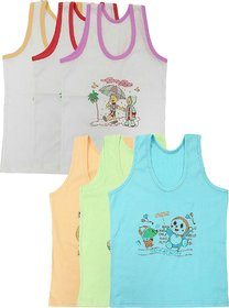 Careplus Boy's Character Printed Multi-Color Vest (Pack of 6)