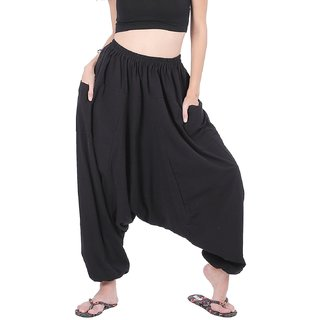 Rayon Black Harem Pants for Women