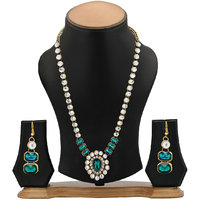 The Pari GreenSilver Alloy Non Plated Necklace Set For Women