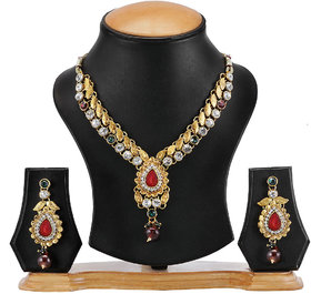 The Pari Gold Plated Multicolor Necklace Set For Women