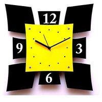 Panache Sheild Style Wall Clock-Yellow (13 X 13 Inches)