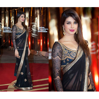 Priyanka Chopra Morocco Black Bollywood Designer Saree with Designer Blouse Piec