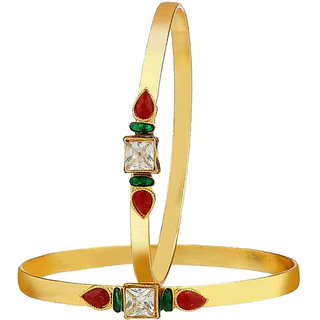 Chrishan Gold Plated Marvelous Fashionable Stylish Golden Bangle Set For Women.