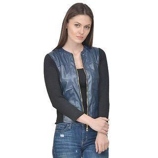 Raabta Navy Blue Faux Leather Jacket with Rib