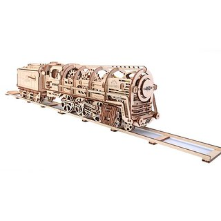 Ugears Steam Engine with Tender 3D Mechanical Puzzle