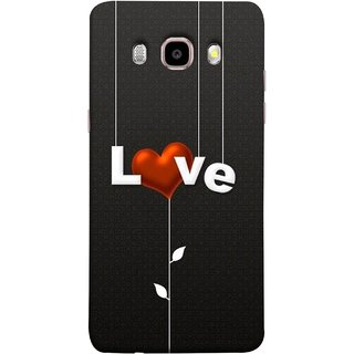 FUSON Designer Back Case Cover for Samsung Galaxy On8 Sm-J710Fn/Df (Red Hearts Hanging Ropes Free Love Tree Multicolour)