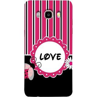 FUSON Designer Back Case Cover for Samsung Galaxy On8 Sm-J710Fn/Df (Pink Black White Vertical Vector Strips Lines Designs)