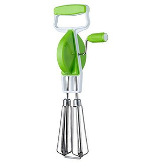 Kitchenware Hand Twist Beater Stainless Steel Egg Lassi Beater Butter Milk Maker Mixer Hand Blender (Green)