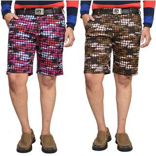 American Noti Checkerd Stretchable Cotton Lycra Slim Fit Men's Shorts(Bermuda)/3/4 th Pack of 2