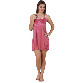 Temfen Peach-Puff Color Short satin Nighty Baby Doll