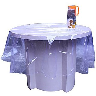 Khushi Creations Elegant Transparent 72 Inch Round Table Cover