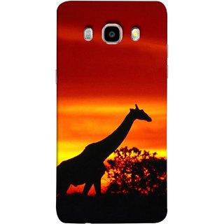 FUSON Designer Back Case Cover for Samsung Galaxy On8 Sm-J710Fn/Df (Africa Sunset Giraffe Evening Wildlife Animals )
