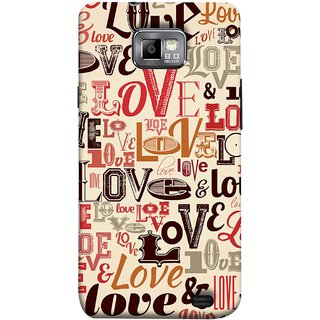 FUSON Designer Back Case Cover for Samsung Galaxy S2 I9100 :: Samsung I9100 Galaxy S Ii (Red Black Only Love Grey Symbols Victory Brown )