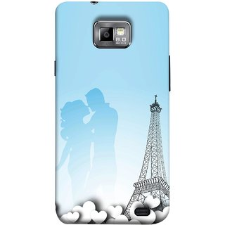 FUSON Designer Back Case Cover for Samsung Galaxy S2 I9100 :: Samsung I9100 Galaxy S Ii (Eiffel Tower True Love Couples Kisses Sky )