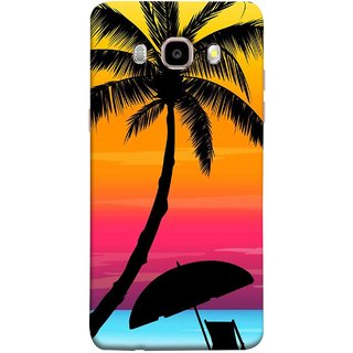 FUSON Designer Back Case Cover for Samsung Galaxy On8 Sm-J710Fn/Df (Colorful Island Sunset Painting Canvas Wallpapers )