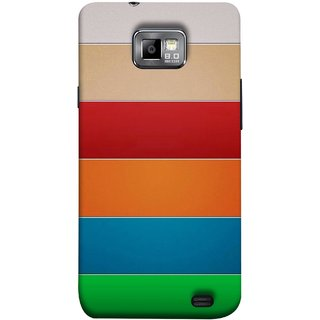 FUSON Designer Back Case Cover for Samsung Galaxy S2 I9100 :: Samsung I9100 Galaxy S Ii (Rainbow Colours Bright Bands Red Orange Blue)