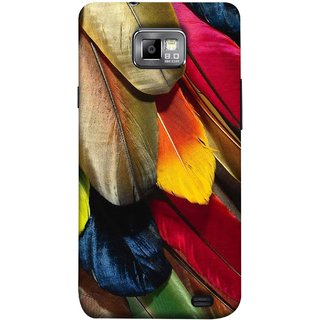 FUSON Designer Back Case Cover for Samsung Galaxy S2 I9100 :: Samsung I9100 Galaxy S Ii (Birds Feathers Parrot Peacock Long Blue Colour)
