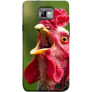 FUSON Designer Back Case Cover for Samsung Galaxy S2 I9100 :: Samsung I9100 Galaxy S Ii (A Crowing Chicken Green Grass Village Morning )