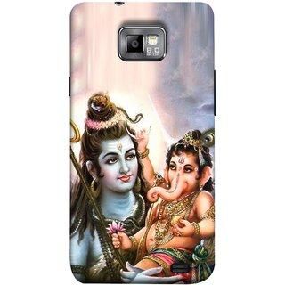 FUSON Designer Back Case Cover for Samsung Galaxy S2 I9100 :: Samsung I9100 Galaxy S Ii (Moon Ganpati Shiva Om Namah Shivay Sitting Jatadhari )