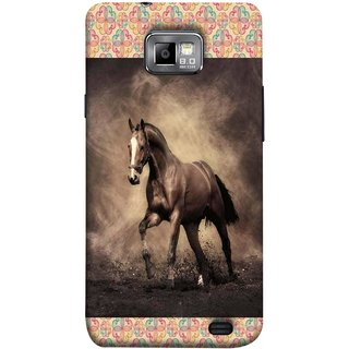 FUSON Designer Back Case Cover for Samsung Galaxy S2 I9100 :: Samsung I9100 Galaxy S Ii (Beautiful Horse Black And White Brown Canvas Wallpaper)