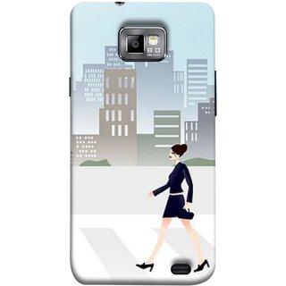 FUSON Designer Back Case Cover for Samsung Galaxy S2 I9100 :: Samsung I9100 Galaxy S Ii (Morden Girl Building Blue Outfit Purse Zebra Cross)