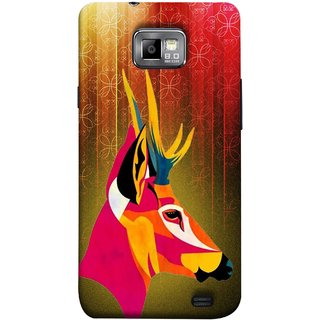 FUSON Designer Back Case Cover for Samsung Galaxy S2 I9100 :: Samsung I9100 Galaxy S Ii (Christmas Deer Origami Merry Abstract Reindeer)