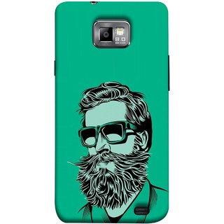 FUSON Designer Back Case Cover for Samsung Galaxy S2 I9100 :: Samsung I9100 Galaxy S Ii (Full Thick Black Beard Man Men Glasses Mustache)