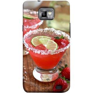 FUSON Designer Back Case Cover for Samsung Galaxy S2 I9100 :: Samsung I9100 Galaxy S Ii (Wine Glass Lemon Slices Farm Fresh Strawberry )