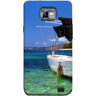 FUSON Designer Back Case Cover for Samsung Galaxy S2 I9100 :: Samsung I9100 Galaxy S Ii (Boat Floating In The Clear Water Island Enjoy Holidays)